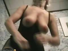 Big Boobs Blonde Granny Mature Stockings
